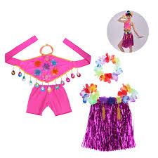 Buy TENDYCOCO Kids Hawaiian Tropical Hula Grass Skirt Set