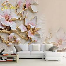Custom 3D Mural Wallpaper Stereo Relief Magnolia Flower Wall Art Painting Living Room Sofa Bedroom