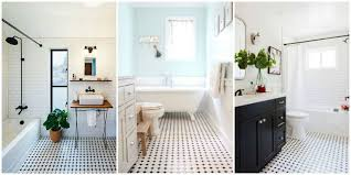 classic black and white tiled bathroom floors are a