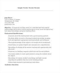Teachers Resume Format Teacher School India