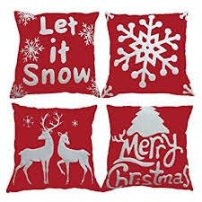 Amazon Sykting Christmas Pillow Covers set of 4 Embroidery