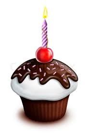 Illustrated Birthday Cupcake with Cherry and Candle Stock