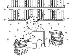 Boy Reading Books In Library Coloring Pages Download
