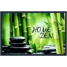 Paillasson Tapis Entrée Pièce Home Zen Galet Noir Bambou 40 X 60cm