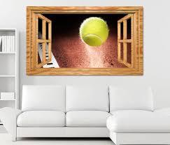 3d wandtattoo tennisball im spiefeld tennis sport fenster wandbild wohnzimmer wand aufkleber 11l1912