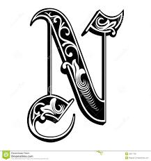 Garnished Gothic Style Font Letter N Stock Vector Illustration