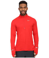 nike dri fit element half zip pullover in red for men lyst