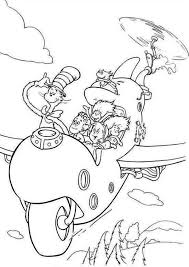 Dr Seuss The Cat In Hat Flying With Wierd Airplane Coloring Page