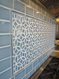 This Kitchen Backsplash Features A Decorative Accent Seen Here Is Our Bloom Pattern In Deep