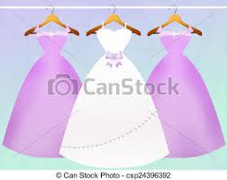 Wedding Dress And Bridesmaids Dresses Stock Illustration