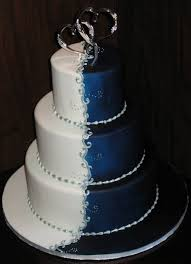 Blue and Silver Wedding Cake