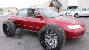 100 Black And Red Truck Rims Honda Accord With Huge OffRoad Tires Doesnt Look Practical