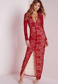 lace long sleeve maxi dress red missguided