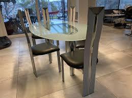 völker design esszimmer glastisch mit 6 stühlen