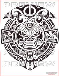 Prehispanic Tribal Mask Tattoo Design