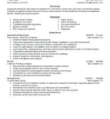 Diploma Electrical Resume Format Download Sample For Electrician Maintenance Apprentice Resum