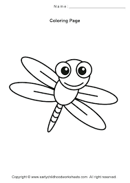 Dragonfly Coloring Page Pages Simple Insects Regarding Cute Free