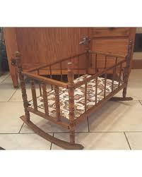 DEAL ALERT Vintage Wood Doll Baby Crib Cradle Handmade Antique
