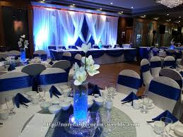 Royal Blue Decoration And White Backdrop Quinceanera Decorations