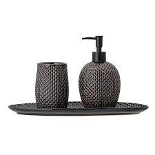 bloomingville badezimmer accessoires grey 3 teilig