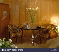 tiger drucken gepolsterte 30er jahre stühle metglass
