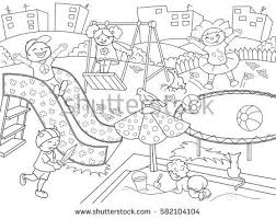 Childrens Playground Coloring Raster Illustration Black Stock Inside Kids Playing On Clipart And White