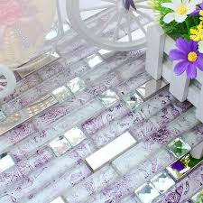 purple cyrstal glass mixed stainless steel mosaic tiles for dining