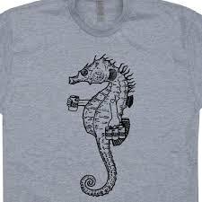 Seahorse Drinking Beer T Shirt Funny Animal Shirts