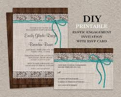 Rustic Engagement Invitation With RSVP Printable Burlap Party Lace Invites