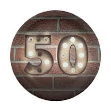 50th Birthday Marquee Sign On Brick Wall Paper Plate