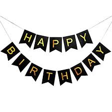 Happy Birthday Swallowtail Bunting Banner for Party Decoration Black Background & Gold Foiled Letters