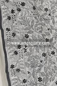 Black Hand Embroidered Kantha Work Bengal Tant Cotton Saree Without Blouse 17224