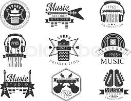 Music Record Studio Black And White Emblems Classic Style Vector Monochrome Graphic Design Logo Set With Text On Background