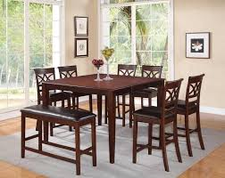 8 PC Cherry Wood Counter Dining Set Table Chairs Bench Leather Seat