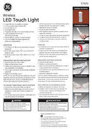ge 17420 ge light bar 4 led touch light wireless user manual 1