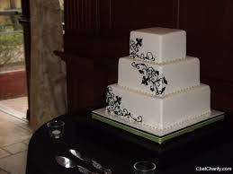 Black Scroll White Wedding Cake