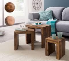 finebuy 3er set satztisch massiv holz wohnzimmer tisch landhaus stil beistelltisch dunkel braun naturholz couchtisch natur produkt wohnzimmermöbel