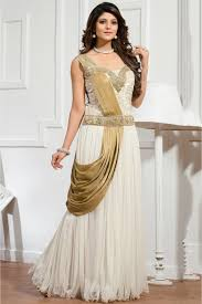net semi stitched party wear gown in white colour party wear