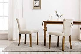 Retro Upholstered Dining Room Chairs Beige Rustic Tufted Linen Fabric Armless Dinning Chair With Curved