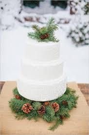 Rustic White Buttercream Wedding Cake With Winter Greenery Pine Cones