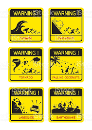 Natural Disaster Warning Signs Family Running stock vector art