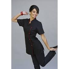 tenue cuisine femme tunique femme cintrée noir garni zeny rozen