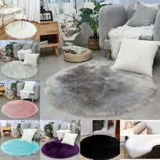 details zu rund modern teppich plüsche teppiche einfarbig kunst schaffell wohnzimmer deko