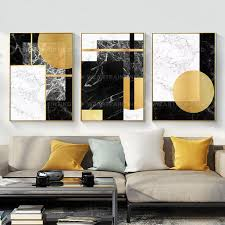 3 pieces geometric gold black abstract print on canvas
