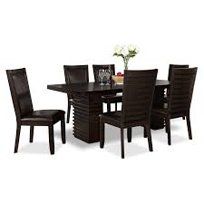 paragon table and 6 chairs merlot and brown value city furniture