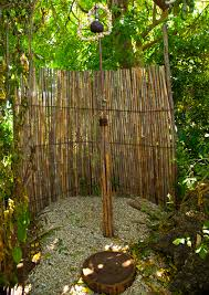 Outdoor Shower For Creative Backyard DIY Projects Rustic Decoration With Tall Green Trees