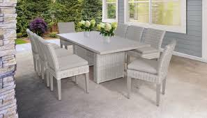 Coast Rectangular Outdoor Patio Dining Table With 8 Armless ...