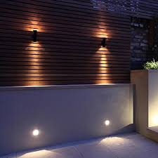 2 x black stainless steel outdoor wall light ip65 up