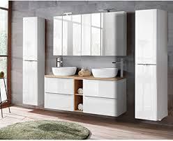 lomadox badmöbel komplett set hochglanz weiß waschtisch mit