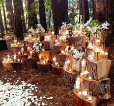 Dramatic Stacked Wood Stump Backdrop For Wedding Ceremony Altar I Wonder If Cara Would Like This
